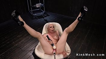 to vibed chair blonde the strapped gyno She begs for him to cum inside her